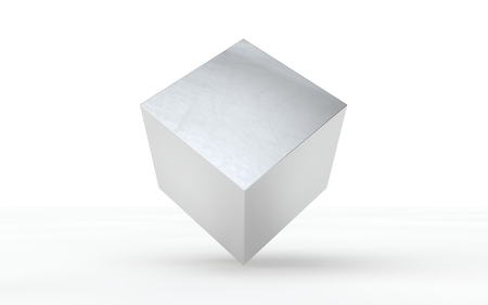 3D silver, shiny cube for graphic design, you can photo