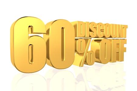 Discount 60 percent off. 3D illustration. illustration