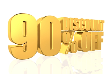 Discount 90 percent off. 3D illustration. illustration