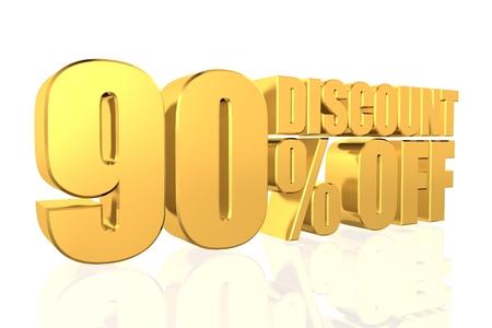 Discount 90 percent off. 3D illustration. illustration