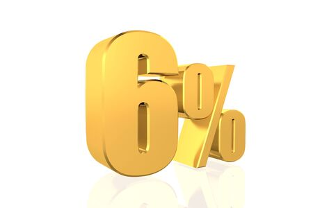 Discount 6 percent off. 3D illustration. illustration