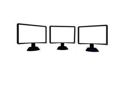 Three-dimensional LCD screen for general use on a white background. photo