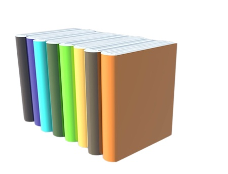 Three-dimensional, colorful books arranged on a white background Sants. photo
