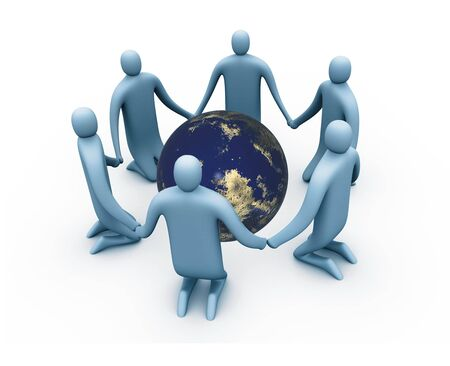 hree-dimensional cartoon of a circle to protect the world. photo