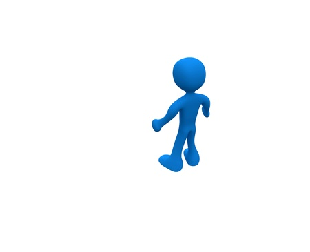 Three-dimensional cartoon blue, standing alone amid a white background.