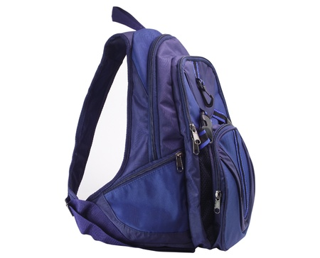 backpack school: Small dark blue backpack on a white background
