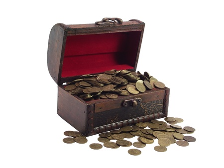 The antiquarian  wooden chest  with coins on a white background photo