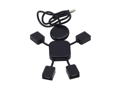 usb2: USB 2.0 Hub  in the form of the little man on a white background Stock Photo