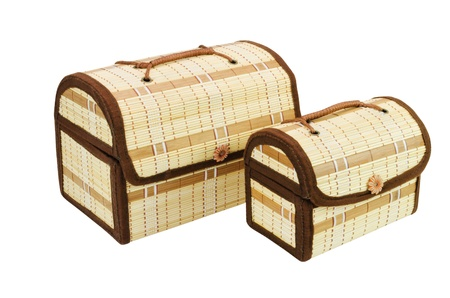 basket weaving: Two small chests of handwork  made by a basket  weaving method on a white background Stock Photo