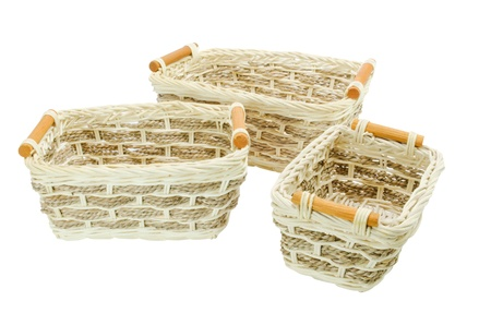A little  Wicker Baskets isolated on a white background Stock Photo - 12331713