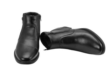 Mans winter boots of black colour on a white background photo