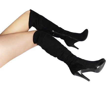 Female boots of black colour on a high heel isolated on a white background Stock Photo - 14208891