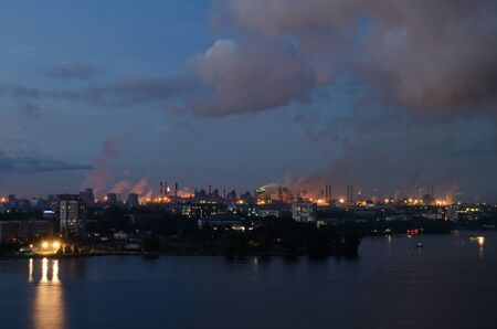 Evening Panorama of  metallurgical industrial complex in town  Nizhniy Tagil In Russia photo