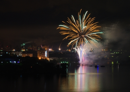 Celebratory fireworks in honour of 290 anniversaries from the date basis of the city   Nizhniy Tagil  In Russia photo