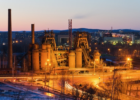 famous industries:  Factory - a museum based by Demidov in 18 century, a night-time lighting.  City Nizhny  Tagil, Russia Stock Photo
