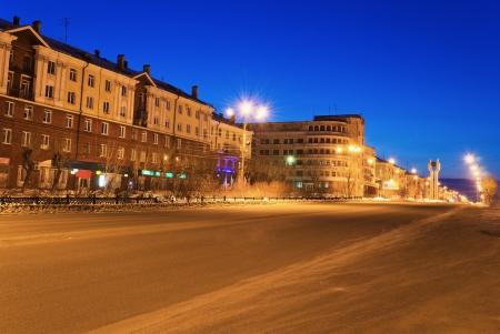 Street of a night city with lanterns  The city of Nizhny Tagil, Russia photo