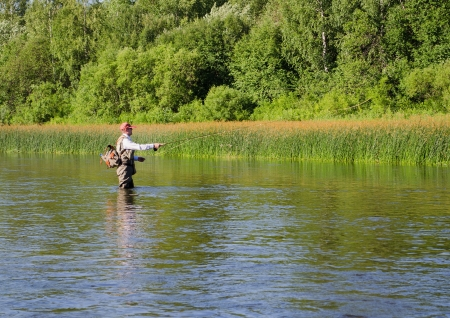 Fisherman catches of chub  fly fishing in the Chusovaya river in the afternoon photo