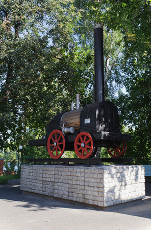 invented: Model of the first Russian steam locomotive invented by Tcherepanov. The city of Nizhni Tagil. Russia