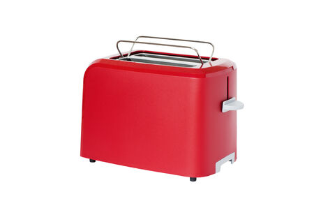 Toaster of red colour, isolated on a white background photo