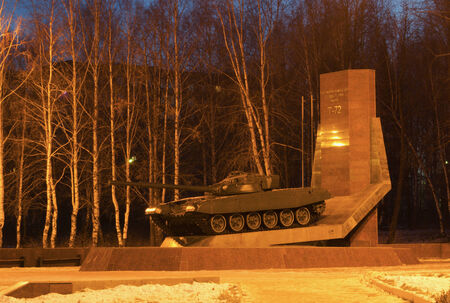 founders: Monument to founders of tank T-72 in the winter morning. The city of NizhnyTagil.
