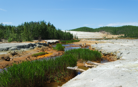 tailings: Environmental problem with the soil and water pollution, connected with copper manufacture Stock Photo