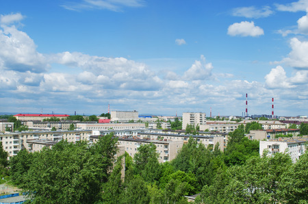 disctrict: NIZHNY TAGIL, RUSSIA - JUNE 12, 2015: The top view on the apartment houses in  Dzerzhinskiy disctrict