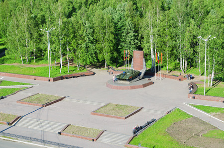 founders: NIZHNY TAGIL, RUSSIA - JUNE 13, 2015: The top view on Monument devoted to founders and designers of tank T-72 Editorial