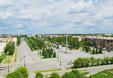 disctrict: NIZHNY TAGIL, RUSSIA - JUNE 10, 2015: The obelisk with the eternal flame on the square of Fame, established in memory of the Great Patriotic War Editorial