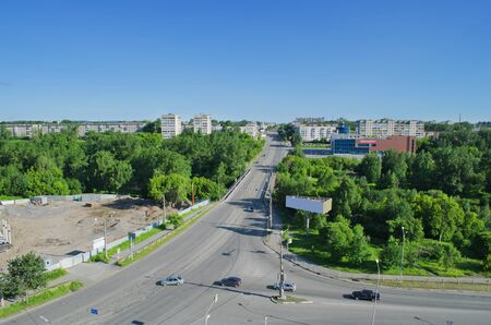 disctrict: NIZHNY TAGIL, RUSSIA - JUNE 14, 2015: The top view on the Frunze street in summer day