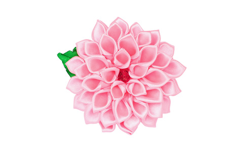 kanzashi: Artificial handmade flower, isolated on white background