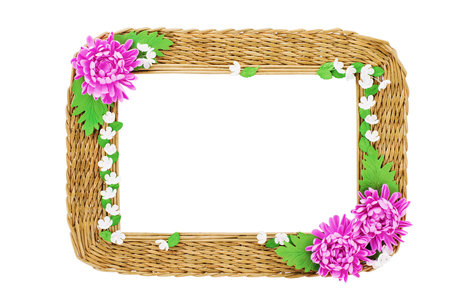 Wicker Picture Frame Handmade . Isolated On White Background Stock ...