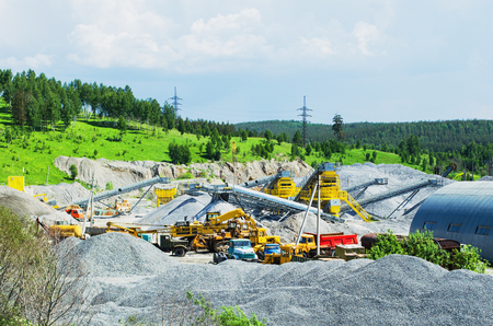 production area: The mining and production of crushed rock,  in a beautiful wooded area. Ural, Russia