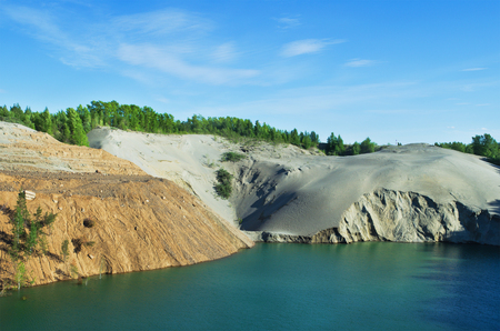 sand quarry: The environmental problem. Abandoned sand quarry Stock Photo