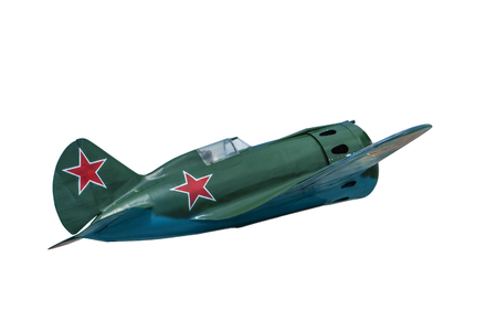 maneuvering: Soviet fighter aircraft I-16. isolated on white background