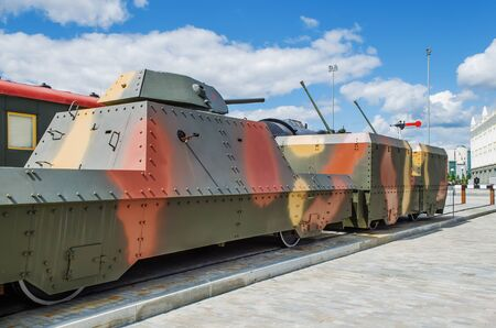armoured: VERKHNYAYA PYSHMA, RUSSIA - JUNE 11, 2015: Armoured train - exhibit of the Museum of military equipment.