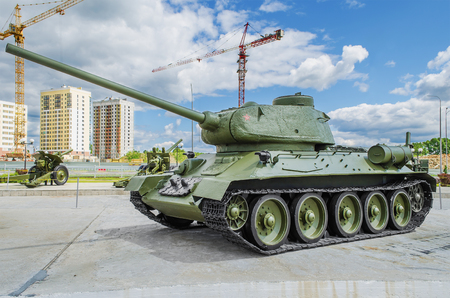 t34: VERKHNYAYA PYSHMA, RUSSIA - JUNE 11, 2015: Soviet tank  T-3485 - exhibit of the Museum of military equipment. Editorial