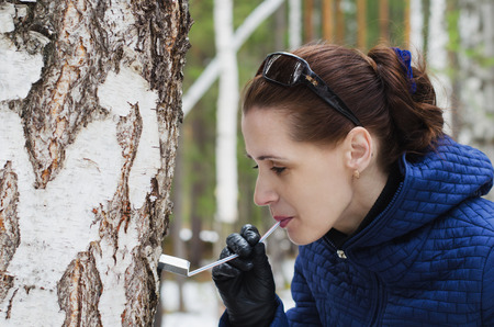 sap: Young beautiful woman drinking birch sap in spring forest Stock Photo