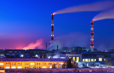 production area: machine building plant at night. Top view of production area Stock Photo
