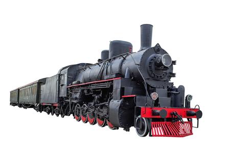 Trein met stoomlocomotief serie Ov. geïsoleerd op witte achtergrond