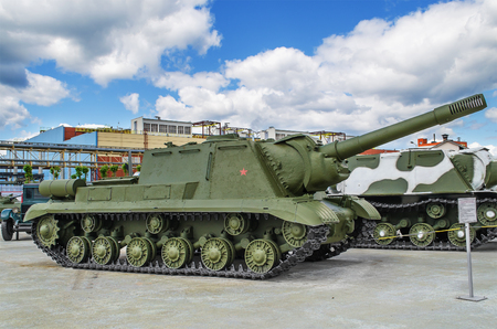 VERKHNYAYA PYSHMA, RUSSIA - JUNE 11, 2015: Self-propelled artillery installation ISU 152 - exhibit of the Museum of military equipment.