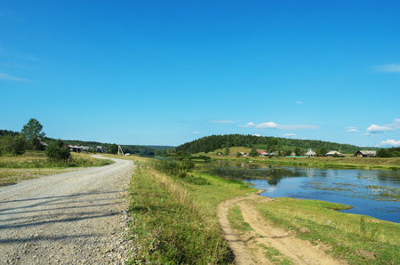 Two diverging roads in the Russian hinterland. The village Sulem, on the river Chusovaya