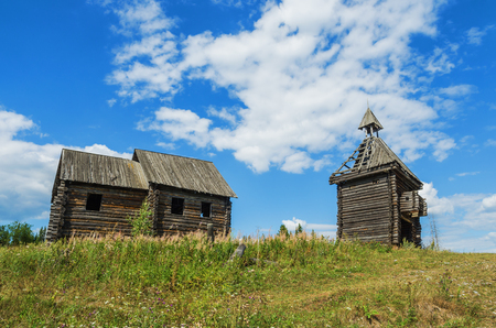 ural: Old abandoned Russian village. An abandoned wooden structure. The remains of the scenery constructed for a film about ancient Russia