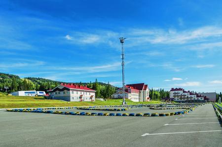URALEC, RUSSIA - AUGUST 06, 2016:  Infrastructure of ski resort Gora Belaya on a summer day