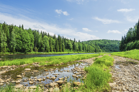 Beautiful summer landscape with a river in the wilderness. The river Usva, Russia, Perm Krai