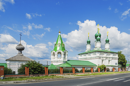 SOLIKAMSK,  PERM KRAI, RUSSIA - JULY 14, 2016: The summer Church of the Transfiguration built in 1683-1692., and  Winter Vvedenskaya Church built in 1683-1710.