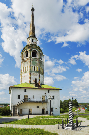 SOLIKAMSK,  PERM KRAI, RUSSIA - JULY 14, 2016: The  main bell tower town Solikamsk,  built 1713,  in summer day  Stock Photo