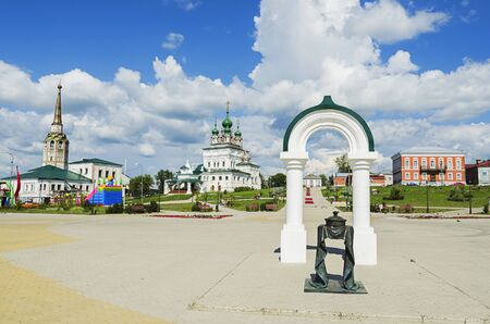 SOLIKAMSK,  PERM KRAI, RUSSIA - JULY 14, 2016: A monument of salt on the Cathedral square in the town of Solikamsk