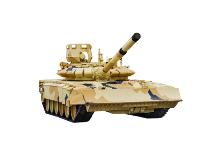Modernized Main Russian battle tank T-72.  Isolated on white backgroud Stock Photo