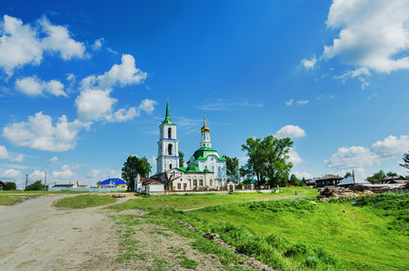 NEIVO-SHAITANSKY, RUSSIA - JUNE 15, 2017: Sts. Peter and Paul Church in Neivo-Shaitansky Village was built in 1820, Russia, Ural