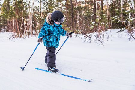 boy goes skiing in the winter forest in sunny day